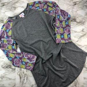 Lularoe Purple Green Floral Sleeve Randy Top NWOT